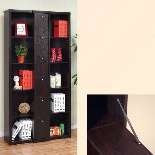 Enitial Lab Gilmore Bookcase/Display Cabinet in Red Cocoa Brown Finish ...