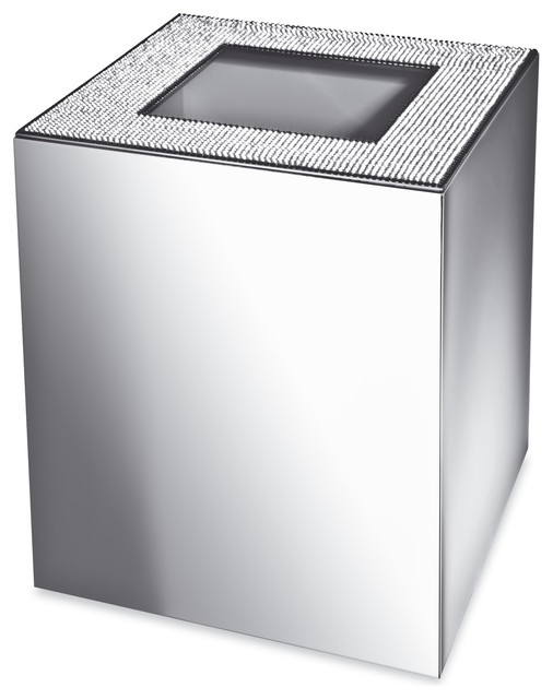 Starlight square bathroom wastebasket without cover with for Covered bathroom wastebasket