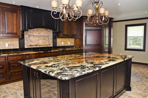 Popular Gold Color Granite Kitchen Countertop Ideas