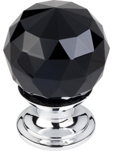 "Black Crystal Knob 1 1/8"" w/ Polished Chrome Base - Modern - Cabinet ..."