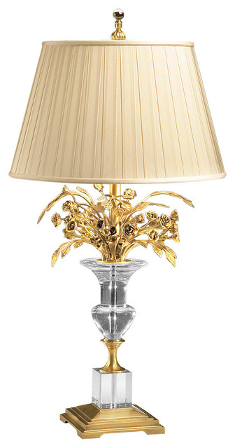 Crystal Vase And Brass Flowers Table Lamp Traditional