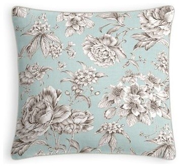 Light Blue Patterned Throw Pillow : Light Blue Floral Toile Throw Pillow - Traditional - Decorative Pillows - by Loom Decor