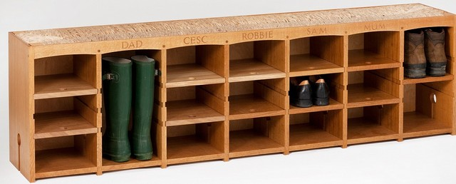 Bootrack/Bench with Thames River Rush Seat by Jonathan Baring - Contemporary - Shoe Storage ...