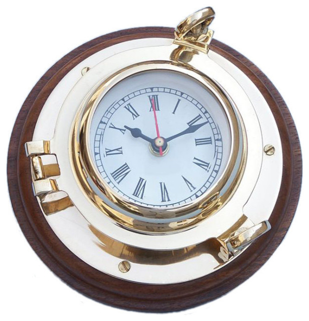 porthole decorative wall clock brass 7 beach style wall clocks by handcrafted nautical. Black Bedroom Furniture Sets. Home Design Ideas