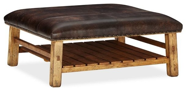 Caden Leather Square Ottoman Rustic Footstools And