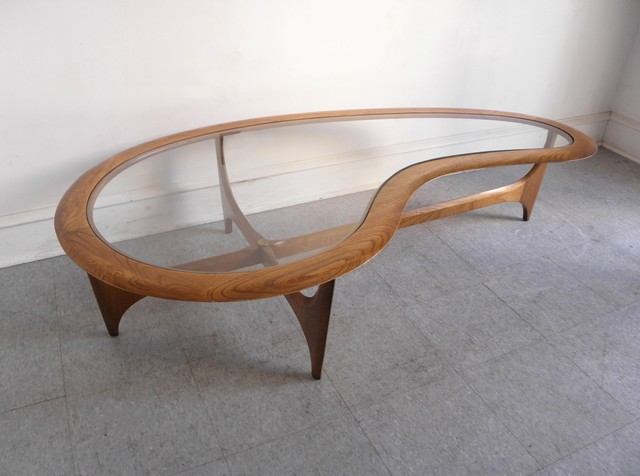 Lane Kidney Shaped Walnut And Glass Coffee Table Midcentury Other Metro By Modern Flair