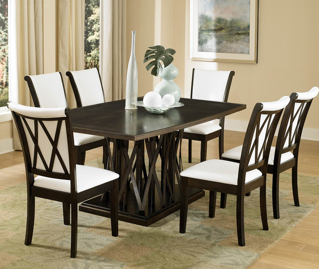 homelegance garvey 7 piece pedestal dining room set w pieces included in this set