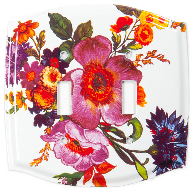 Flower Market Switch Plate Double Toggle White
