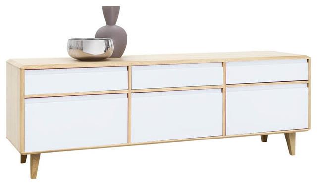 sideboard low lovell wei eiche massiv. Black Bedroom Furniture Sets. Home Design Ideas