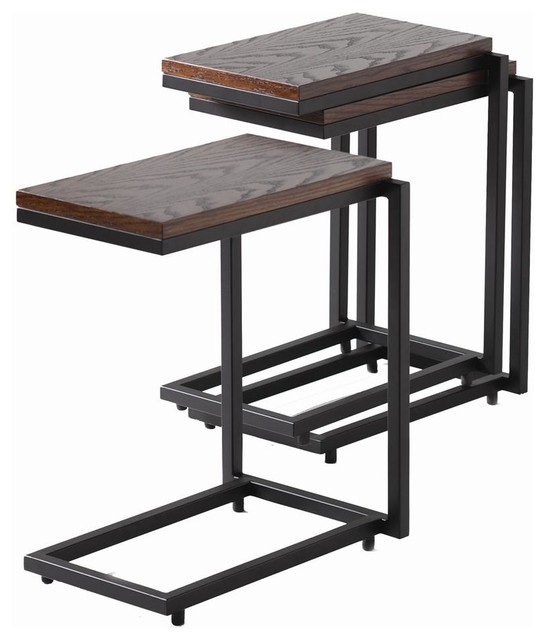 Narrow stacking c table in safari finish contemporary for Long narrow side table