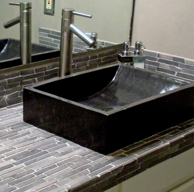 Black marble trough vessel sink black finger tile Black vessel bathroom sink