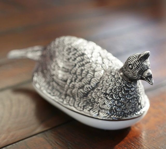 Pheasant Lidded Butter Dish Contemporary Butter Dishes