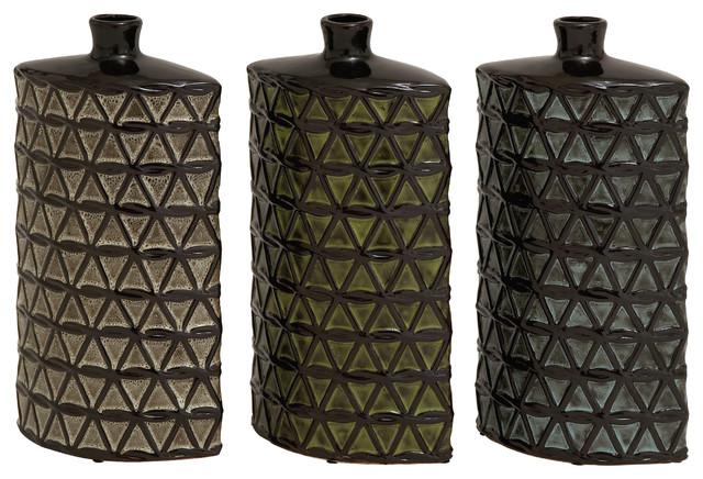 Stunning and unique set of 3 ceramic vases contemporary for Unique decorative accessories