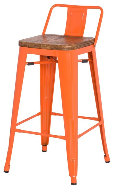 Metropolis Low Back Bar Stool With Wood Seat Orange Set