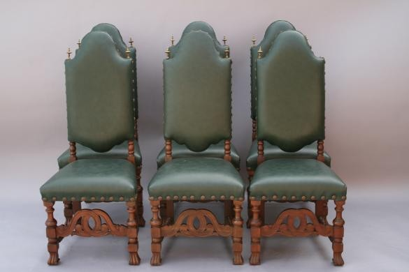 Set Of Six Green Leather Dining Chairs Traditional