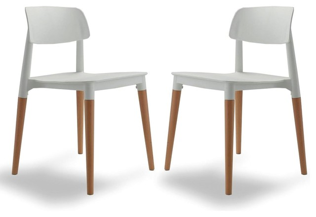 Lot de 2 chaises design glamwood couleur blanc for Chaise salle a manger scandinave