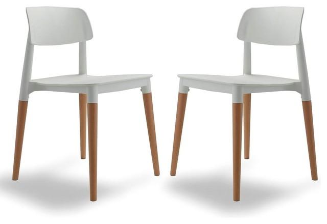 Lot de 2 chaises design glamwood couleur blanc for Chaise scandinave couleur