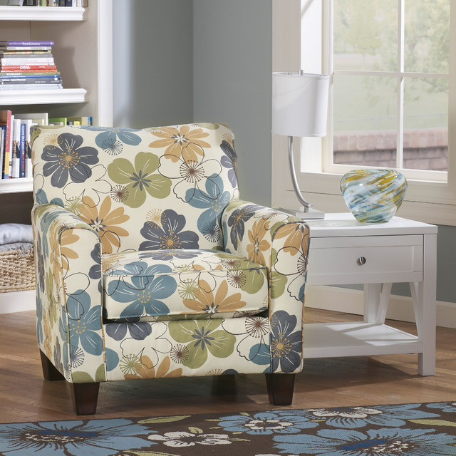 Missoni Style Print Accent Chair: Signature Design By Ashley Kylee Spa Blue Floral Print