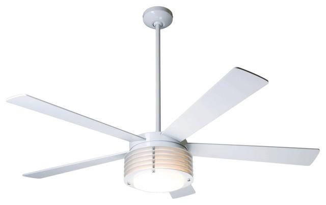 52 Modern Fan Pharos Gloss White With Light Ceiling Fan
