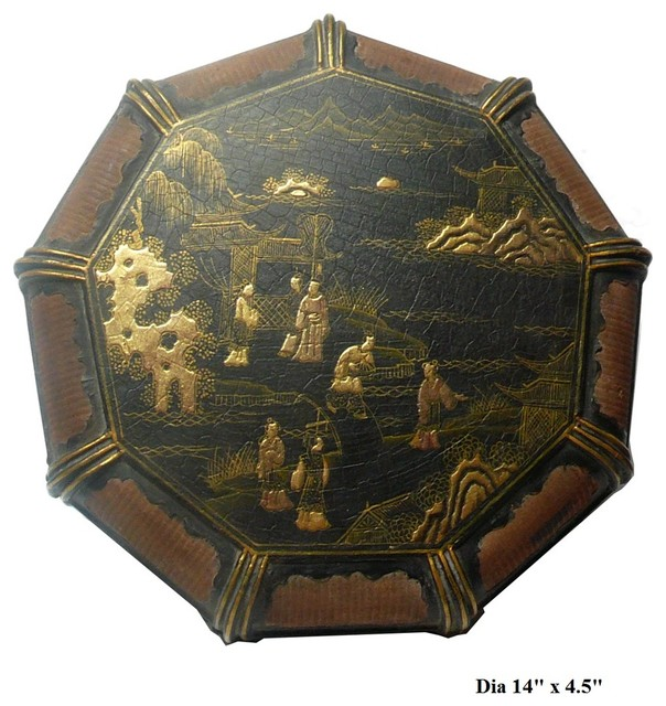 Chinese Vintage Rattan Lacquer People Scenery Box Asian Home Decor