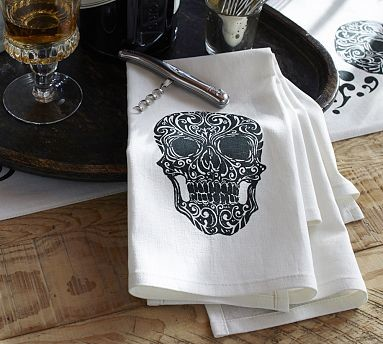 Day of the Dead Skull Bar Towel Set of 2 Traditional