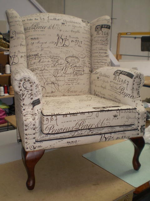 Butterfly Wing Chair In Revenge Fabric Traditional