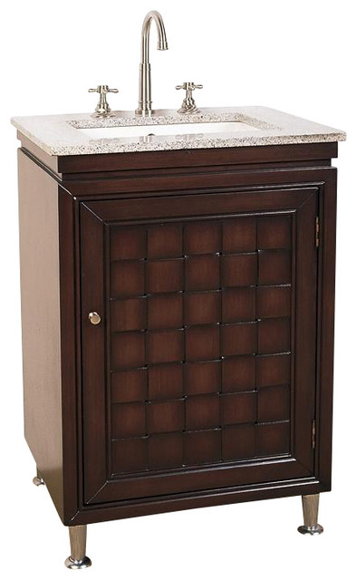 Small Bathroom Vanity With Granite Top : Small bathroom vanity with door in cherry brown finish and
