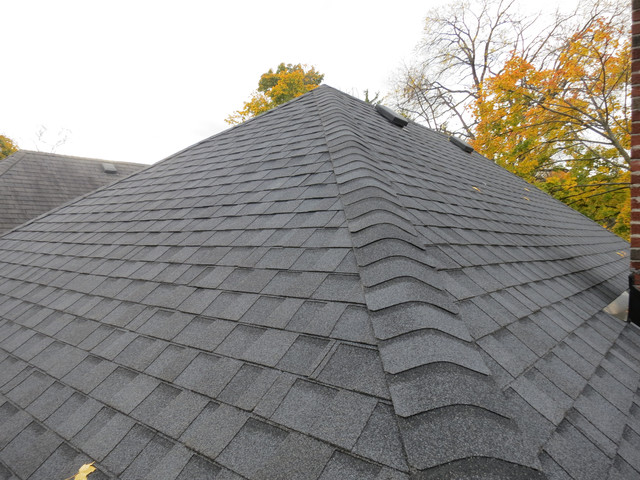 Asphalt Shingles Certainteed Landmark Moire Black Roof Installation ...