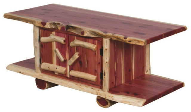 Rustic Red Cedar Log Coffee Table 2 Doors Rustic Coffee Tables By Furniture Barn Usa