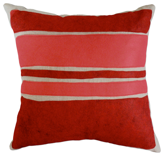 Modern Felt Pillows : Felt Applique Linen Pillow - Color Block - Contemporary - Decorative Pillows - by Balanced Design