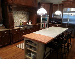 Quartz to butcher block transition for Best brand of paint for kitchen cabinets with atlanta falcons wall art