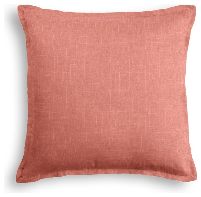 Decorative Pillow Trim : Salmon Pink Linen Pillow With Warm Pink Trim - Contemporary - Decorative Pillows - by Loom Decor