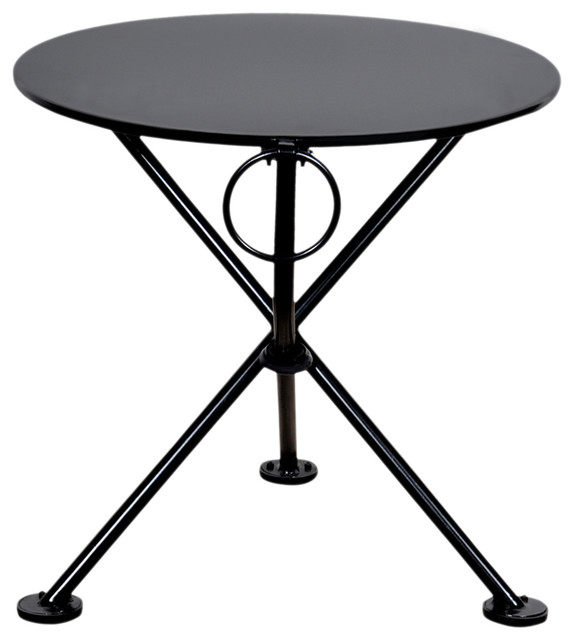 French Cafe Bistro 3 Leg Folding Coffee Table Jet Black 20 Round Metal Top Contemporary