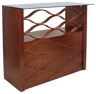 Wave Walnut Wood Home Bar Contemporary Wine And Bar Cabinets By