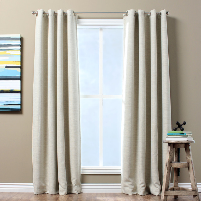 Solid Textured Insulated Thermal Blackout Curtain Panel Contemporary Curtains By