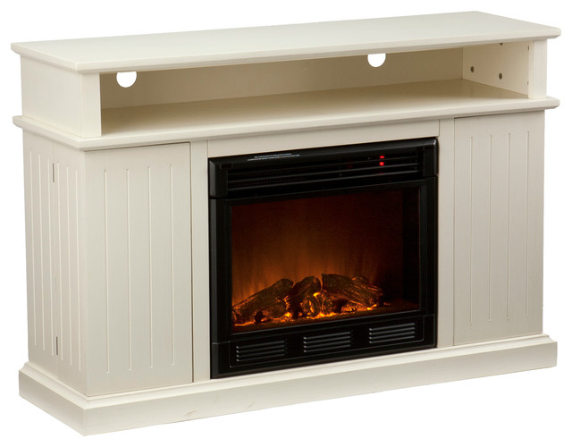 fenton media electric fireplace ivory contemporary