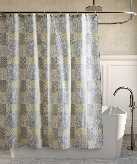 Yellow Amp Gray Alexa Shower Curtain