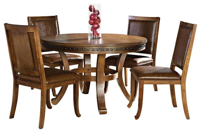 steve silver ashbrook 6 piece round dining room set in oak