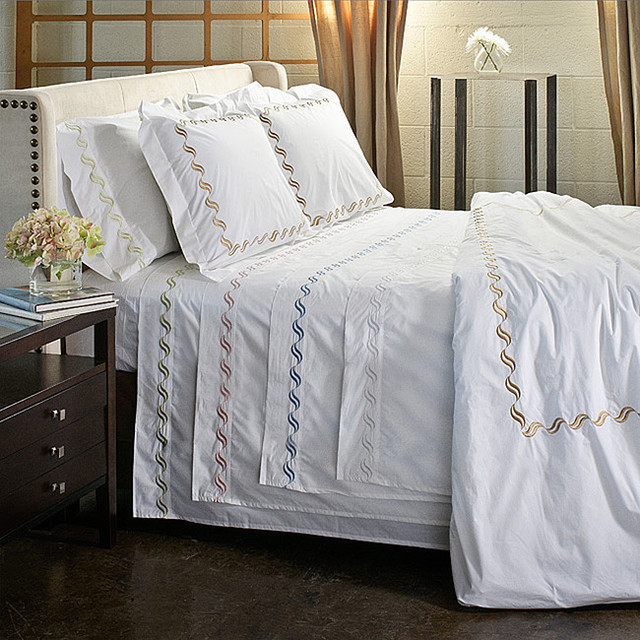 Scroll Embroidery 300 Thread Count Cotton Percale Sheet