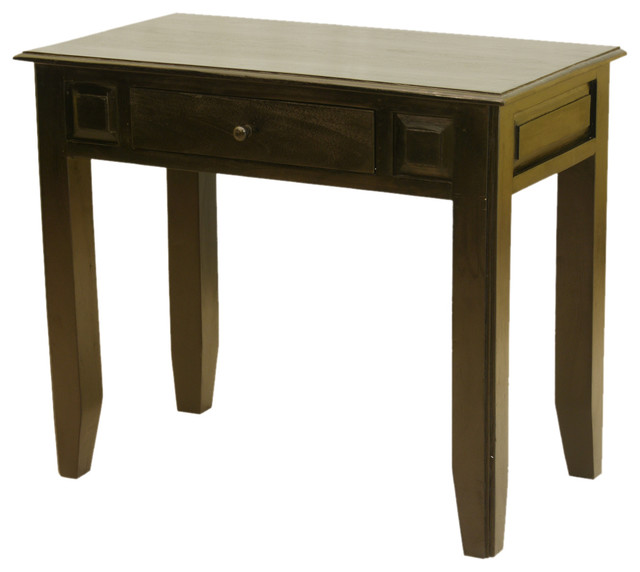 Mango Wood Console Table Desk w Drawer - Rustic - Console Tables - san ...