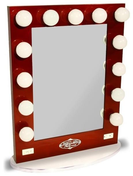 broadway lighted vanity mirror burgandy contemporary makeup mirrors. Black Bedroom Furniture Sets. Home Design Ideas