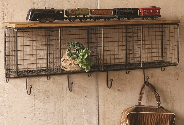 Wire Shelf With Wooden Top & Hooks Farmhouse Display And Wall S