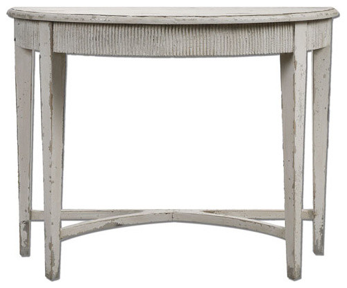 Parisio antique white demilune console table contemporary side tables end tables by bellacor White demilune console table