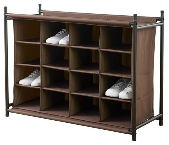 16-Compartment Shoe Organizer - Traditional - Closet Storage