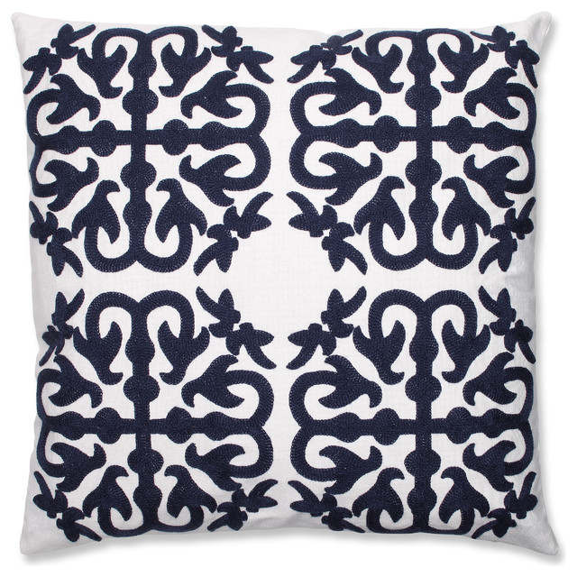 Quatrefoil Navy Embroidered Throw Pillow - Mediterranean - Decorative Pillows - by Pillow ...