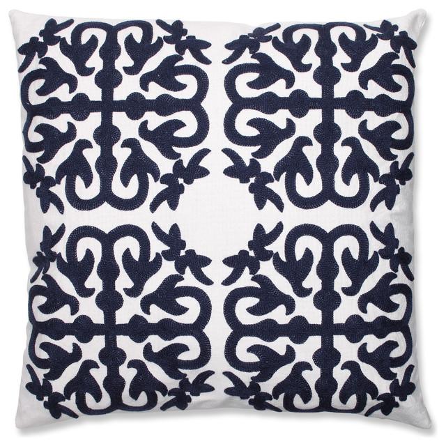 Quatrefoil Decorative Pillow : Quatrefoil Navy Embroidered Throw Pillow - Mediterranean - Decorative Pillows - by Pillow ...