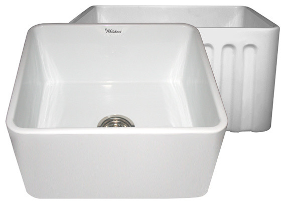 Traditional Kitchen Sinks : ... & Smooth Reversible Fireclay Farm Sink traditional-kitchen-sinks
