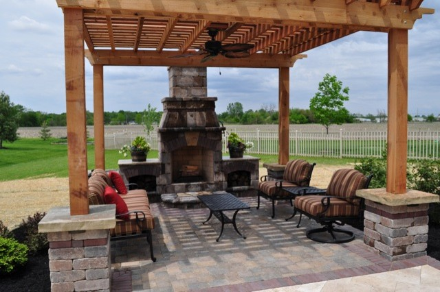 pergola and outdoor fireplace in mason oh mediterranean. Black Bedroom Furniture Sets. Home Design Ideas