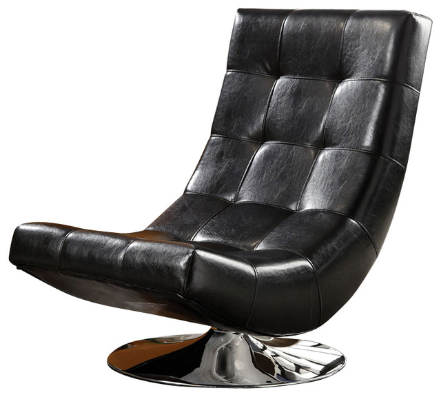 Modern Mahogany Bycast Leather Chrome Metal Swivel Accent