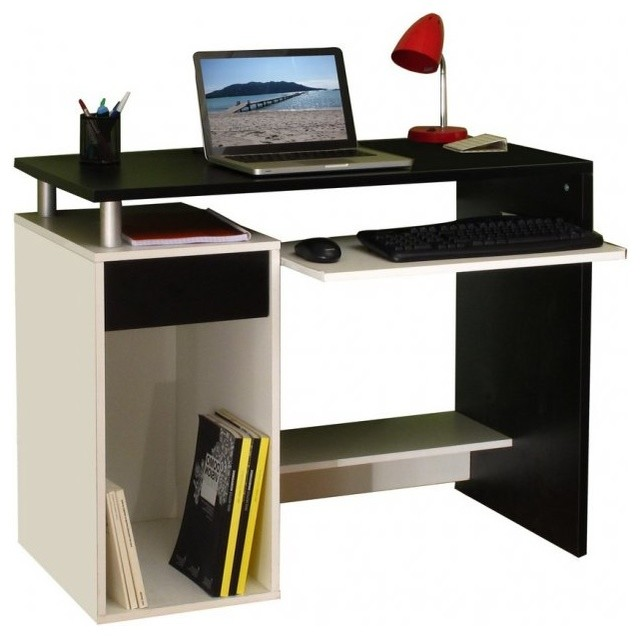 geek bureau informatique triple plateaux noir blanc contemporain meuble bureau et. Black Bedroom Furniture Sets. Home Design Ideas